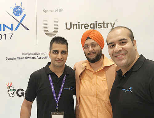Myself with Manmeet Pal Singh (left) and Gaurav Kohli (right) at DomainX 2017